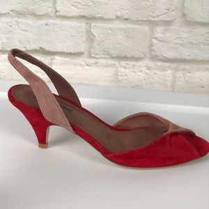 Jeffery Campbell Red/Pink Suede/Sling/Sandals